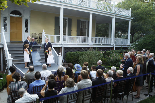 Mintz , New York City's consumer affairs commissioner, and Feinblatt , a chief adviser to the mayor, are married by New York City Mayor Michael Bloomberg at Gracie Mansion in New York