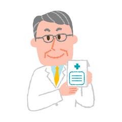 vector illustration of an elderly male pharmacist