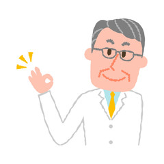 vector illustration of an elderly male pharmacist