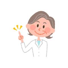 vector illustration of an elderly female pharmacist