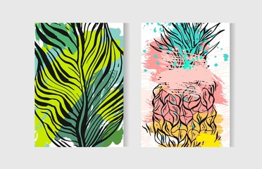 Hand drawn vector abstract artistic freehand drawing unusual summer time cards set template collection with pineapple fruit and palm leaves.Wedding,birthday,save the date,journalling,anniversary.