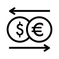 currency exchange vector icon. Black and white money illustration. Outline linear dollar and euro icon.