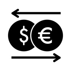 currency exchange vector icon. Black and white money illustration. Solid linear dollar and euro icon.