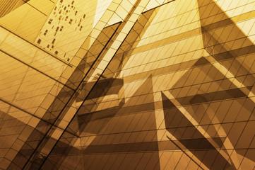 Fototapete - Glass window surface of modern office building