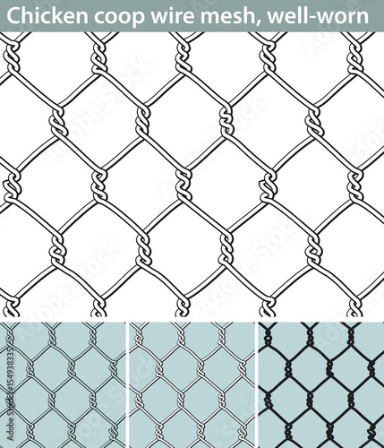 Chicken wire, well-worn. Three different versions of a seamless ...