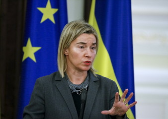 European Union foreign policy chief Mogherini speaks during a news conference in Kiev