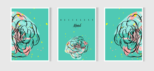 Hand drawn vector abstract Save the Date greeting card collection set template with succulents,cactus plant and freehand texture in mint color.Design for wedding,journaling,birthday,invitation,label.