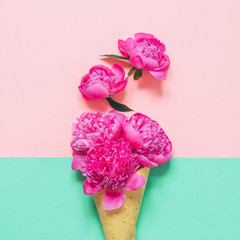 pink peonies flowers in Ice cream cone with leaves on double colored background