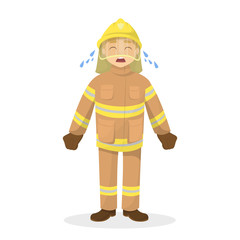 Isolated crying fireman.