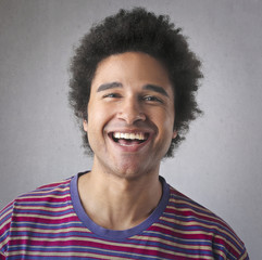 Cheerful guy smiling