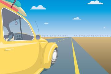 Summer Travel Car Concept. Vacation Postcard Template. Vector Illustration.