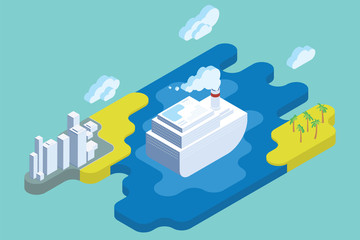 Ocean Cruise Summer Vacation. Flat Isometric Art. Travel Vector Illustration.