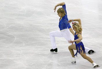 Carron and Jones of France perform during the ice dance short dance at the ISU World Figure Skating Championships in Nice