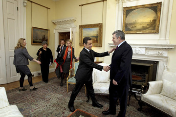 Britain's Prime Minister Brown shakes hands with France's President Sarkozy before their meeing inside 10 Downing Street in central London