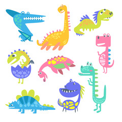 Cute funny dinosaurs. Collection of prehistoric animal characters vector Illustrations