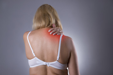 Neck pain, massage of female body, ache in woman's body