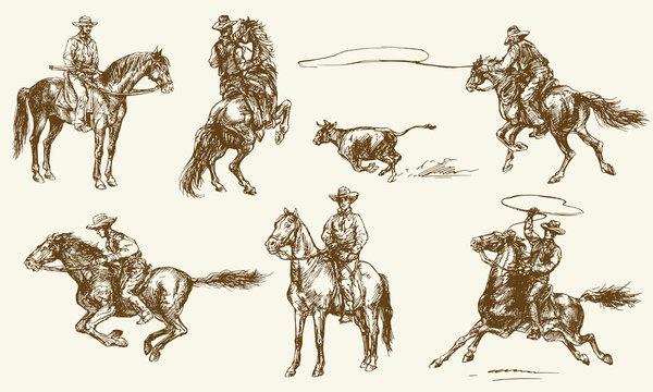 Cowboys. Hand drawn set.