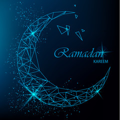 Ramadan Kareem beautiful greeting card with polygonal moon with glitter on blue background. Stock vector