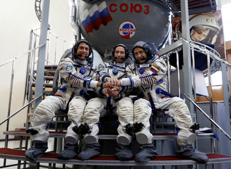 ISS crew members Kimbrough, Ryzhikov and Borisenko pose for picture during a training session at Gagarin Cosmonaut Training Centre in Star City