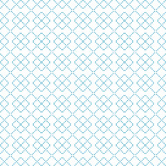 Geometric seamless pattern. Blue abstract background with square shape elements and dotted lines