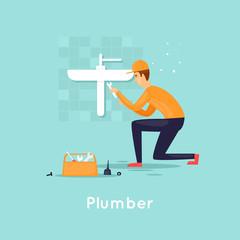 Plumber repair water supply. Flat design vector illustration.