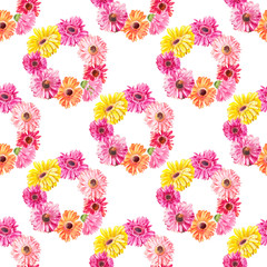 Watercolor pattern of pink flowers woven into wreaths. Texture suitable for printing on fabric, scrapbooking
