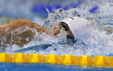 Team Germany's Biedermann swims to win in the men's 4x200m freestyle final at the European Swimming Championships in Berlin