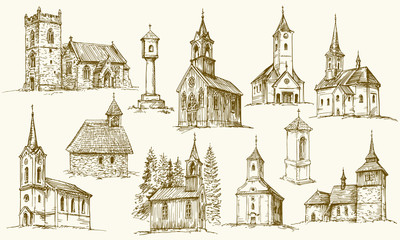 Set of old country churches. Hand drawn vector illustration. Wall mural
