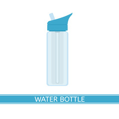 Water bottle vector icon for camping, sport, hiking, fishing, outdoor activities. Isolated on white background, flat style.