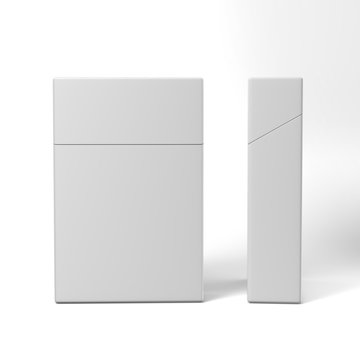 Closed pack of cigarettes isolated on a white background for mock up and print design. 3d render illustration.
