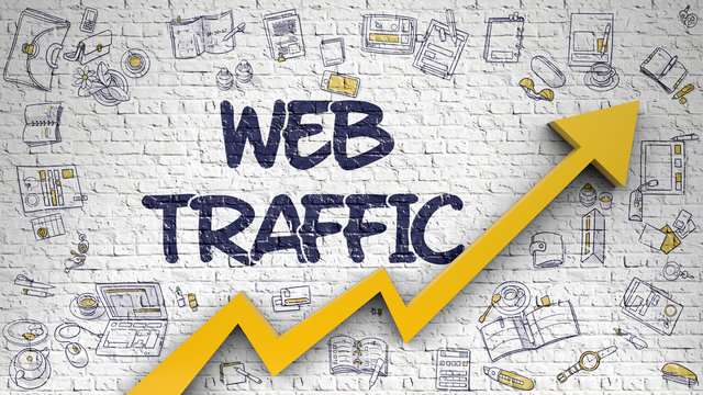 Web Traffic Drawn on White Wall. Illustration with Doodle Icons. Web Traffic - Improvement Concept. Inscription on White Brickwall with Hand Drawn Icons Around. 3D.