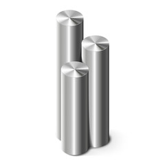 Metal cylinders on white