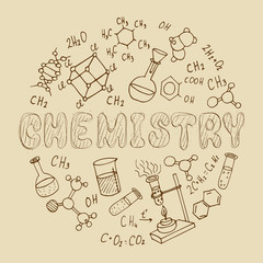 chemistry doodles. vector isolated illustration