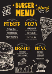 Restaurant food menu, template design.