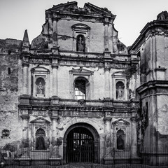 Beautiful facade in black and white of an old ruined church, finest examples of an 18th-century convent in Antigua, Guatemala.