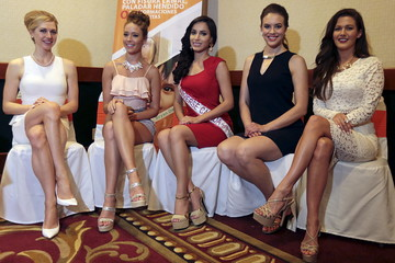 Miss Universe Canada 2015 Nunez Valdez and other finalists in the competition Colberg, McKay, Heinsar and Kohut pose for pictures at a news conference in Managua, Nicaragua
