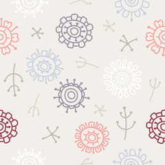 modern abstract floral pattern on beige background