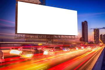 large billboard in the night traffic jam