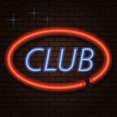 Neon signboard inscription club on a brick background. Vector illustration .