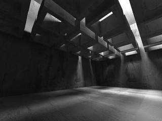 Dark basement empty room interior. Concrete walls