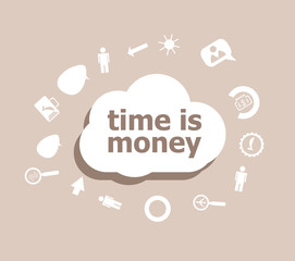 Text Time is money. Time concept . Icons set for cloud computing for web and app