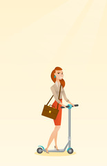 Woman riding kick scooter vector illustration.
