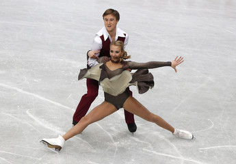 Russia's Victoria Sinitsina and Ruslan Zhiganshin compete during the ice dance short dance program at the ISU World Figure Skating Championships in Saitama