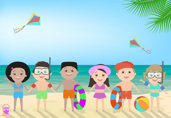 Children on the beach. Beach children's recreation, children's camp, different nationalities. Vector cartoon