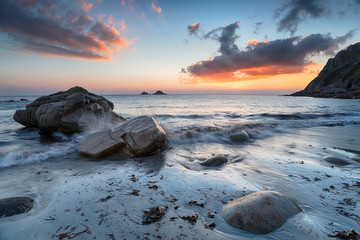 Wall Mural - Sunset at Porth nanven in Cornwall
