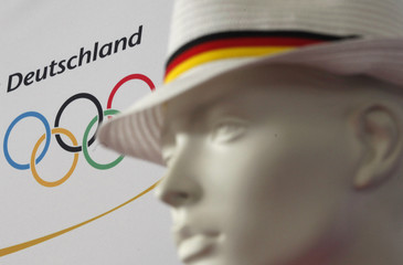 A mannequin displays a sun hat designed for the German team participating in the 2012 London Olympics Games in Mainz