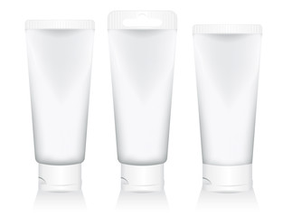 set cosmetic tubes isolated on white background. packaging for gel, cream, lotion, sunscreen. vector illustration