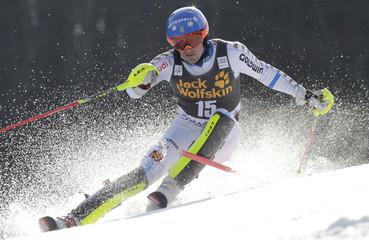 Larsson of Sweden clears pole during men's slalom at World Cup in Kranjska Gora