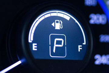 Speedometer and fuel indicator, parking mode