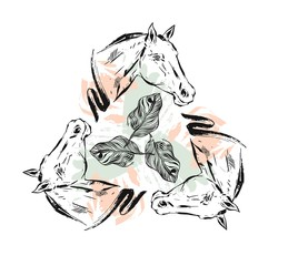 Hand drawn vector textured lined ink graphic horses head illustration with abstract tropical exotic flowers in pastel,pink and green colors isolated on white background